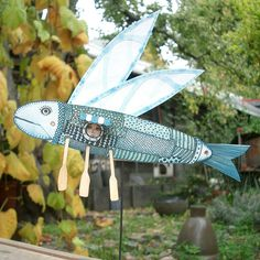 Paper Flying Fish Moveable Sculpture by bryankring on Etsy