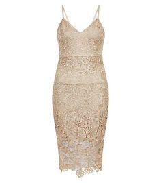 AX Paris Gold Crochet Lace V Neck Midi Dress | New Look