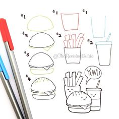 12 Food Doodles (Step By Step) For Your Bullet Journal Kawaii Drawings, Doodle Drawings, Easy Drawings, Doodle Art, Drawing Lessons, Drawing Tips, Doodle Lettering, Hand Lettering, Kawaii Doodles