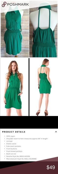 Urban  Outfitters Sleeveless Shirtdress BB Dakota halter shirt dress in beautiful Jade color. More description in the second pic. Purchased at BBDAKOTA, which is carried by UO. Urban Outfitters Dresses