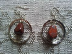 Red Jasper Dangle Earrings  Silver Plate by BlueWorldTreasures, $15.00