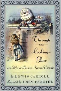 Capa de Alice do outro lado do espelho e o que ela encontrou lá, de Lewis Carroll, com ilustrações de John Tenniel