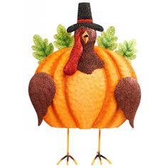 "15"" Standing Glitter Turkey Decor"