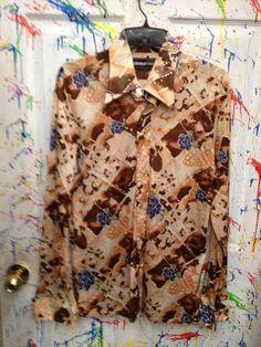 Mens Vintage long sleeve polyester pimp nylon disco shirt size Large 16 earth tones blue flower motif 1970's by RagsAGoGo, $20.00