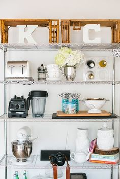 Create extra kitchen storage with a chrome rack