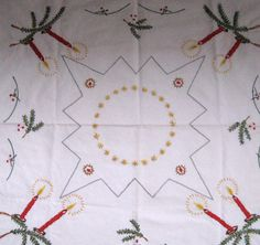 German Embroidered Advent / Christmas Tablecloth by vintagous