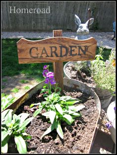 Homeroad ~ garden sign made from old table