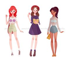 Ariel, Jasmine and Belle casual clothes by punizella@tumblr