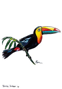 Catchii illustration, drawing, toucan, yellow, blue, red, sitting on a branch