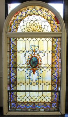 VICTORIAN STAINED GLASS ARCH TOP WINDOW
