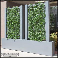 English Ivy Trellis Space Divider in Fiberglass Planter