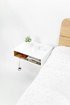 Floating White Nightstand / Bedside Table, Scandinavian Mid Century Modern  Retro Style. Handgefertigte Schwimmende Nachttisch ...