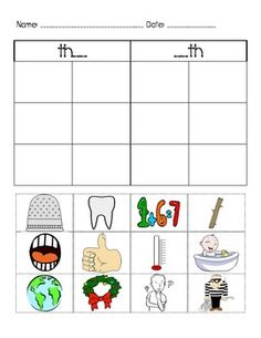 17 pages of Consonant Digraph Picture Sorts and More
