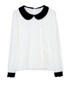 White Sweet Top with Faux Pearl and Contrast Peter Pan Collar