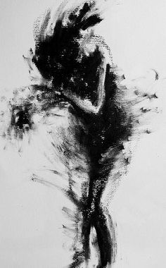 "Clara Lieu Gesture Drawing 5 minute gesture drawing, lithographic rubbing ink on charcoal paper, 12"" x 9"":"