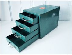 teal industrial file drawer for art supplies