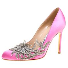 Get the must-have pumps of this season! These Manolo Blahnik Pink Satin Embellished Swan Pumps Size EU (Approx. US Narrow (Aa, N) are a top 10 member favorite on Tradesy. Gold Kitten Heels, Manolo Blahnik Hangisi, Leather Heels, Pink Leather, Fashion Heels, Pink Satin, Ankle Strap Heels, Stiletto Heels, High Heels