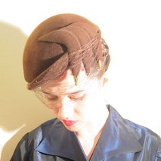 Vintage 1950s Cocktail Hat in Asymmetrical Brown Felt / 50s Fascinator Hat Sculpted Side Panels and Beads by BasyaBerkman on Etsy