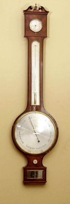 Good mahogany barometer by Adam - Stock - Moxhams Antiques