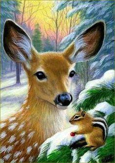 deer, hinds, fawns, deer in painting and illustrations Bridget Voth – Animal paintings Wildlife Paintings, Wildlife Art, Animal Paintings, Animal Drawings, Art Drawings, Drawing Animals, Deer Drawing, Christmas Scenes, Christmas Animals