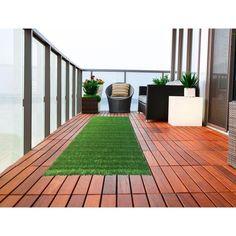 "Ottomanson Garden Grass Collection Indoor / Outdoor Artificial Solid Grass Green Turf Design Area Rug / 3'11"" x 6'6"""
