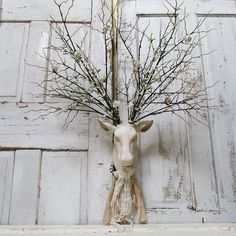 Wall mounted faux deer head hand painted distressed ivory porcelian shabby cottage chic embellished antlers home decor anita spero design