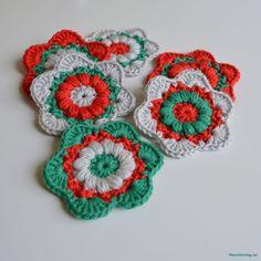 LiteVirkning - JUL / Minimysteriet. virkade julblommor (crochet christmas flowers)