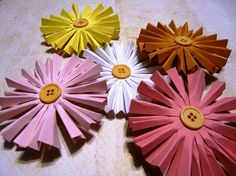 Gerber daisy button paper flowers. aka shameless promotion. @buttonsandblossoms.etsy