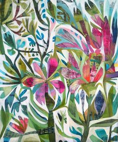 View contemporary art by British contemporary artists at Red Rag Art Gallery. Our contemporary art gallery is open every day. Art Floral, Paper Napkins For Decoupage, Plant Art, Colorful Paintings, Somerset, Textile Design, Collage Art, Bunt, Flower Art