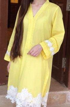 Lamont yellow with lace Stylish Dresses, Simple Dresses, Women's Fashion Dresses, Stylish Outfits, Casual Dresses, Kurta Designs Women, Salwar Designs, Blouse Designs, Mehndi Designs