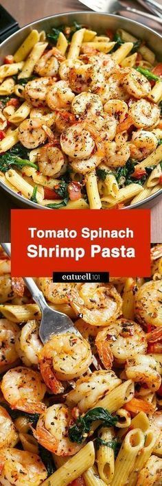 Tomato Spinach Shrimp Pasta Bold flavors star in this one pot dinner ready in 30 minutes. Al dente pasta is tossed with spicy grilled shrimps tomatoes fresh spinach garlic and a drizzle of o Shrimp Dishes, Shrimp Recipes, Pasta Recipes, Dinner Recipes, Cooking Recipes, Healthy Recipes, Recipe Pasta, Tomato Recipe, Dinner Ideas