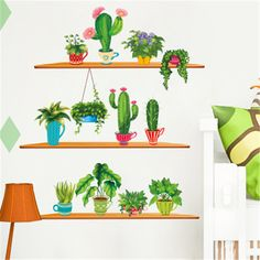 Nordic Style Cactus Wall Stickers Home Decor Living Room Wall Decals Children's Room Decorative Stickers Green Plants Stickers -in Wall Stickers from Home & Garden on Aliexpress.com | Alibaba Group