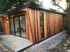 Southgate Timber is a supplier of Hardwood decking, cedar cladding, oak mouldings, owatrol treatment & many more. Cedar Cladding House, Western Red Cedar Cladding, Exterior Cladding, Summer House Garden, Backyard House, Backyard Studio, Garden Bar, Garden Office, Garden Ideas