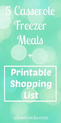 Making freezer meals in bulk is the best way to stock your freezer. This plan was so easy - 5 yummy casseroles with a printable shopping list. aileencooks.com