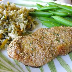 Breaded Baked Pork chops Preheat  oven to 375. Mix all dry ingredients. Dip chops in melted butter then in bread crumb mixture. Bake for 35 min or until browned.