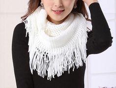 White Fringe Knit Snood