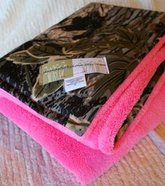 Realtree Camo Blanket and Bubblegum Pink Cuddle Fleece with Ribbons on Etsy, $29.99