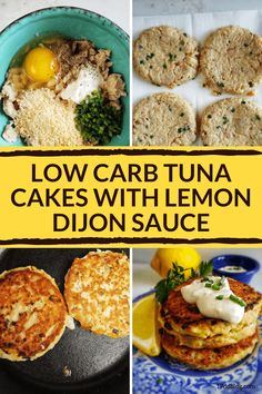 Loving this low carb Tuna Cakes with Lemon Dijon Sauce! They are bread-crumb free, low carb, and really yummy! The sauce is the best part! Can Tuna Recipes Healthy, Tuna Fish Recipes, Canned Salmon Recipes, Veggie Recipes, Canned Foods, Protein Recipes, Veggie Food, Eating Healthy, Healthy Meals