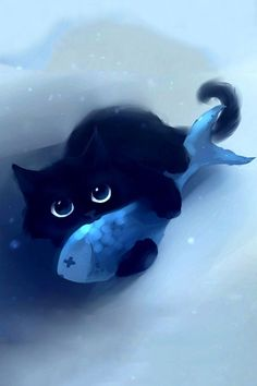 Find the best Cute Anime Cat Wallpaper on GetWallpapers. We have background pictures for you! Pet Anime, Anime Animals, Cute Animals, Warrior Cats, Cute Black Cats, Cute Cats, Black Kitty, Black Cat Painting, Cute Cat Illustration