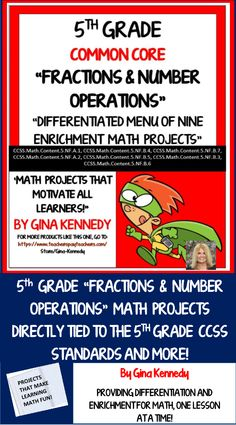 No-prep, 5th Grade Fractions and Operations Enrichment Projects Nine fun…