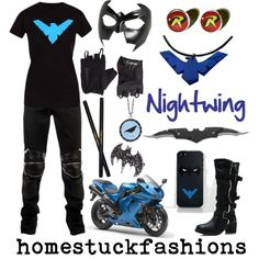 Homestuck Fandom: inspired by the Nightwing Geek Fashion, Womens Fashion, Dc Costumes, Justice Clothing, Women's Clothing, Superhero Villains, Character Inspired Outfits, Themed Outfits, Young Justice