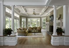 love the space, the ceiling detail & the columns - the windows too!