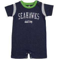 Seattle Seahawks Infant College Navy Old School Romper