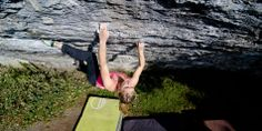Shauna Coxsey climbing a variation to 'A Bigger Belly' (8A+)