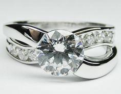 Round Diamond Criss-Cross Bypass Bridge Engagement Ring 0.50 tcw. In 14K White Gold