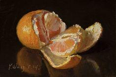 "Original daily painting a day mandarin orange miniature still life 4x6 "", Y WANG #Realism"
