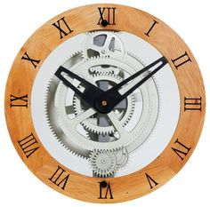 Wooden Moving Gear Wall Clock