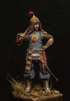 Timurid Guard painted by Fabio Naskino Fiorenza. Scale 1:24th sso about 70mm Tall.