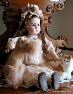 "French Bisque Antique Doll 29"" RARE JUMEAU TRISTE BEBE"