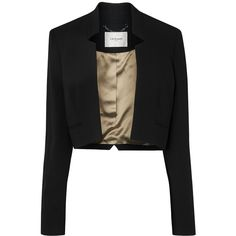 L.K. Bennett Tawna Cropped Jacket (€305) ❤ liked on Polyvore featuring outerwear, jackets, black, women, l.k.bennett, cropped tuxedo jacket, black tux jacket, tuxedo jacket en black jacket